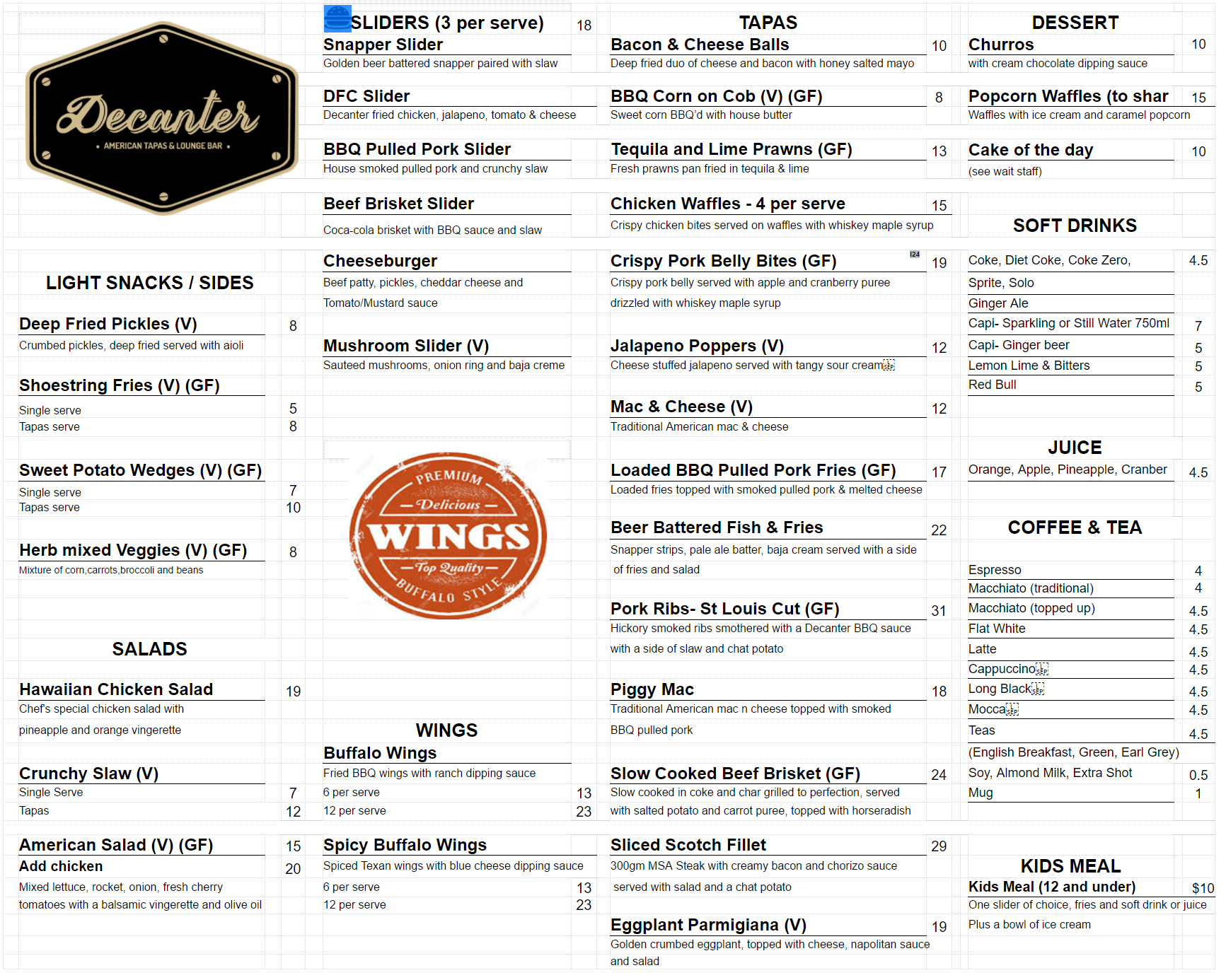 Food menu decanter american tapas bar for Bar 88 food menu